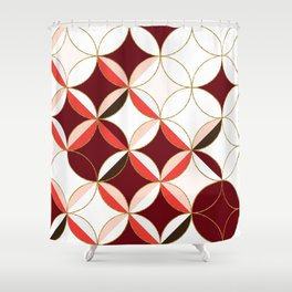 Floral Circle Pattern Inspired by Mid Century Modern Design: Red Pink and Gold Foil Shower Curtain