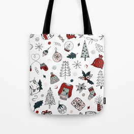 Christmas holiday pattern, winter hand drawing background. Tote Bag