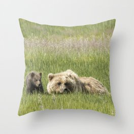 Young Brown Bear Cub and Its Mother, No. 1 Throw Pillow
