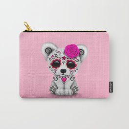 Pink Day of the Dead Sugar Skull Polar Bear Carry-All Pouch