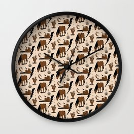 Electric Oasis - Black, Brown & Tan Wall Clock