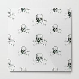 Black and White Vintage Skull Pattern Metal Print