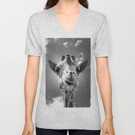 Cool Giraffe Black and White Unisex V-Neck