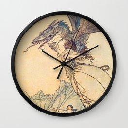 """The Dragon Caught the Queen"" by Arthur Rackham Wall Clock"
