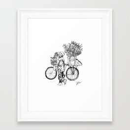Bicycle Flower Seller in Hanoi in Pencil Framed Art Print