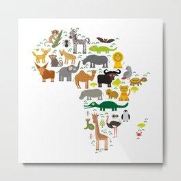 map of Africa: parrot Hyena Rhinoceros Zebra Hippopotamus Crocodile Turtle Elephant Mamba snake Metal Print