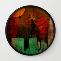 takmaj Wall Clocks featuring Jump on the green city by Joe Ganech