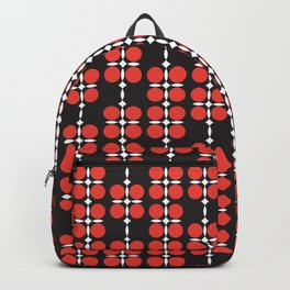 Ethnic geometric hanging flowers red on black Backpack