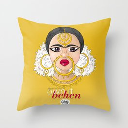 Hashtag Team Unibrow - Own It Behen (*Sister) Throw Pillow