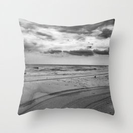 Driving on Assateague Island (Black and White) Throw Pillow