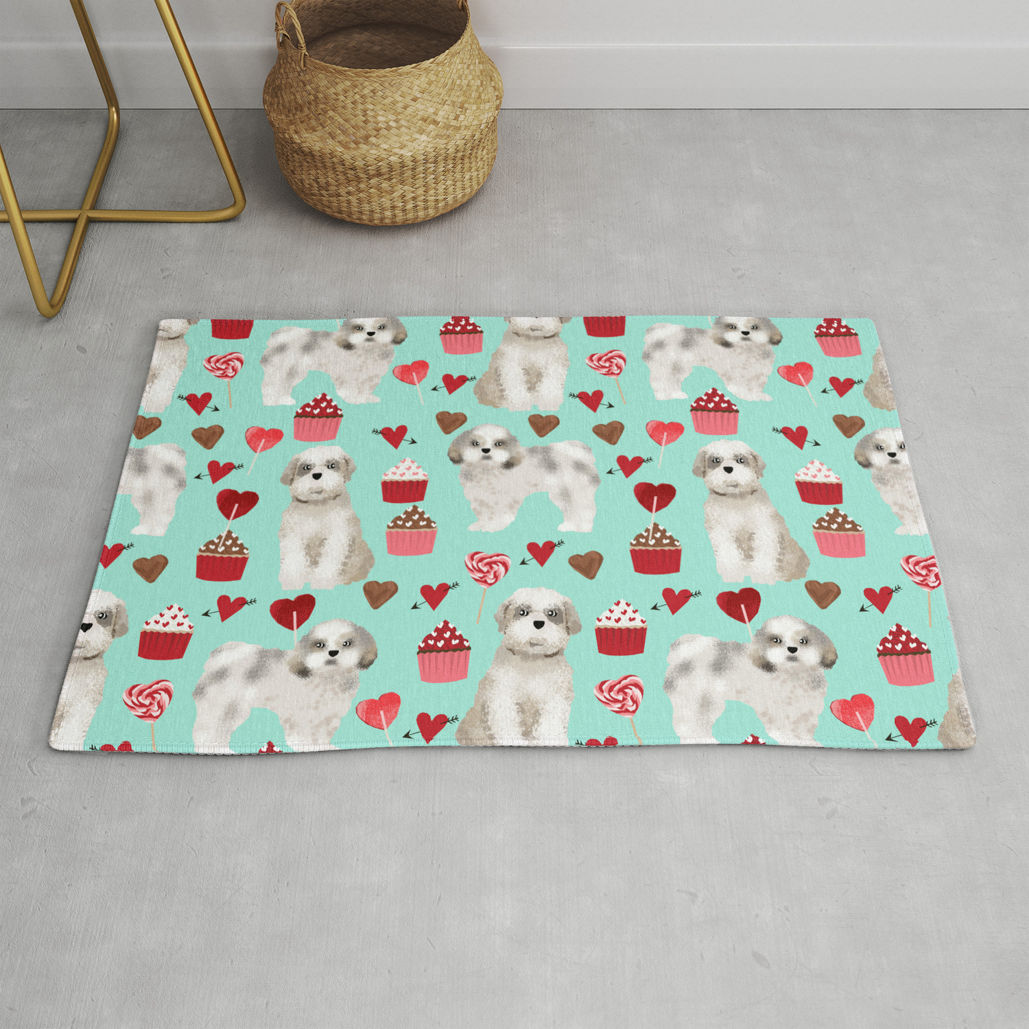Shih Tzu Valentines Day Pattern For Dog Lover With Cute Shih Tzu Puppy Love By Pet Friendly Rug By Petfriendly Society6