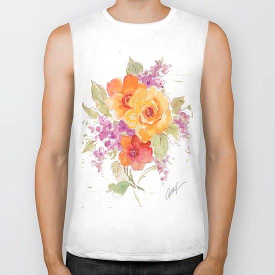 flower beach roses floral Biker Tank