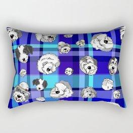 Plaid Sheepies Blue Rectangular Pillow