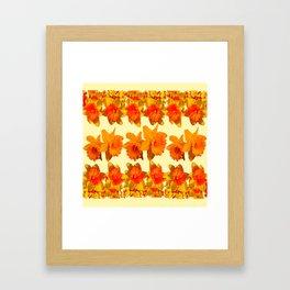 CREAM COLOR GOLDEN DAFFODILS GARDEN ART DESIGN Framed Art Print