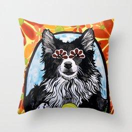 Gizmo the Border Collie Throw Pillow