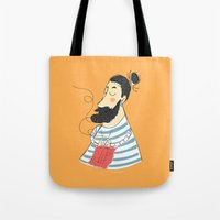 knitting Tote Bags featuring knitting by Milla Scramignon