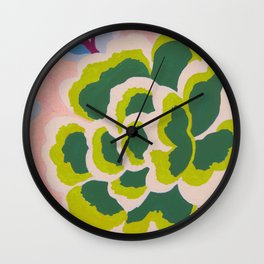 Big Japanese Flower On Pink Background Wall Clock