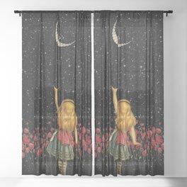 Wonderland Smiling Starry Night - Alice In Wonderland Sheer Curtain
