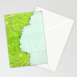 Vintage Map of Tahoe California (1955) Stationery Cards