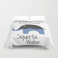 Naughty Elephant Squirts Water. Duvet Cover