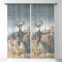 The Sabbath of Witches Goya Painting Sheer Curtain