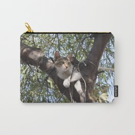 Bi-Color Tabby Cat In Tree Carry-All Pouch