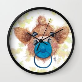 Wee mini blue- MacKenzie-McMoo by Fiona Bárcenas Wall Clock