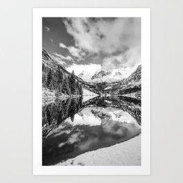 Maroon Bells Snowy Aspen Landscape in Black and White Art Print
