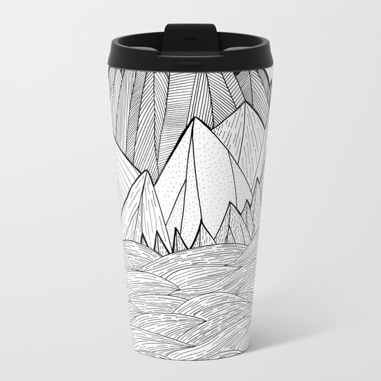 The waves and the mountains under the sun Metal Travel Mug