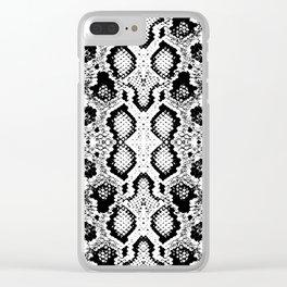 Snake skin texture. black white. simple ornamen Clear iPhone Case