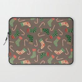 Modern pastel green coral Christmas socks candy Laptop Sleeve