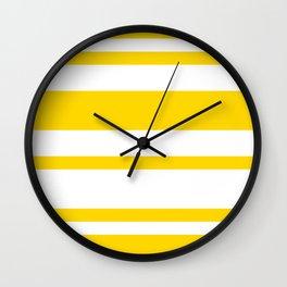 Mixed Horizontal Stripes - White and Gold Yellow Wall Clock