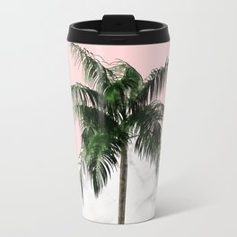 Palm Tree on Pink and Marble Wall Travel Mug