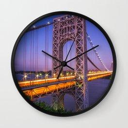 World Famous Historic George Washington Bridge Hudson River New York City Ultra HD Wall Clock