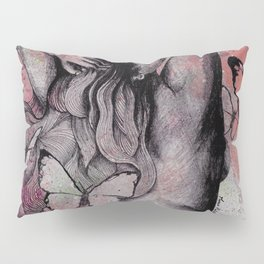 Sugar Coated Sour: Pomegranate (nude curvy pin up with butterflies) Pillow Sham