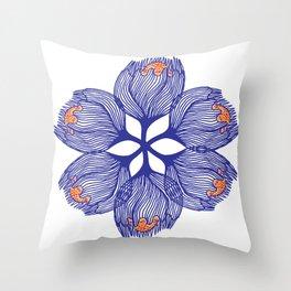 Blue spiral flower Throw Pillow