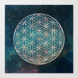 Mandala Flower of Life Rose Gold Space Stars Canvas Print