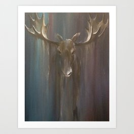 Moose in downpour Art Print