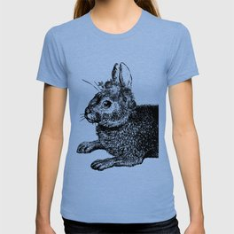 The Rabbit and Roses | Black and White T-shirt