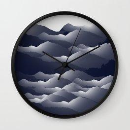 Navy Blue Mountains #2 #decor #art #society6 Wall Clock