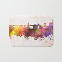 Saint Petersburg skyline in watercolor background Bath Mat