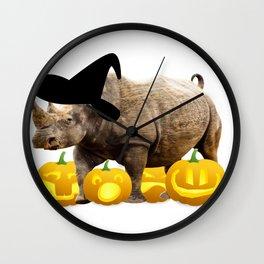 Halloween Rhino Witch Hat Jackolanterns Wall Clock
