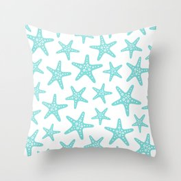 Sweet Starfish Pattern 235 Aqua Throw Pillow