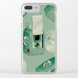 Teal Cameras Clear iPhone Case