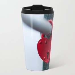 Red Heart Lock Travel Mug