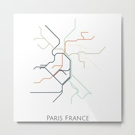 Paris Subway - Metro Map Metal Print