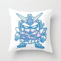 gundam Throw Pillows featuring Cheeseburger RX-78 Gundam by Philip Tseng