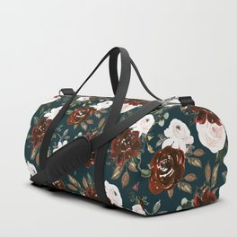 Autumn is calling - rust and blush roses on petrol Duffle Bag