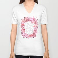 fitzgerald V-neck T-shirts featuring Zelda Fitzgerald – Pink on Charcoal by Cat Coquillette