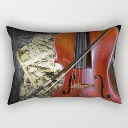 Cello with Bow a Stringed Instrument with Classical Sheet Music Rectangular Pillow